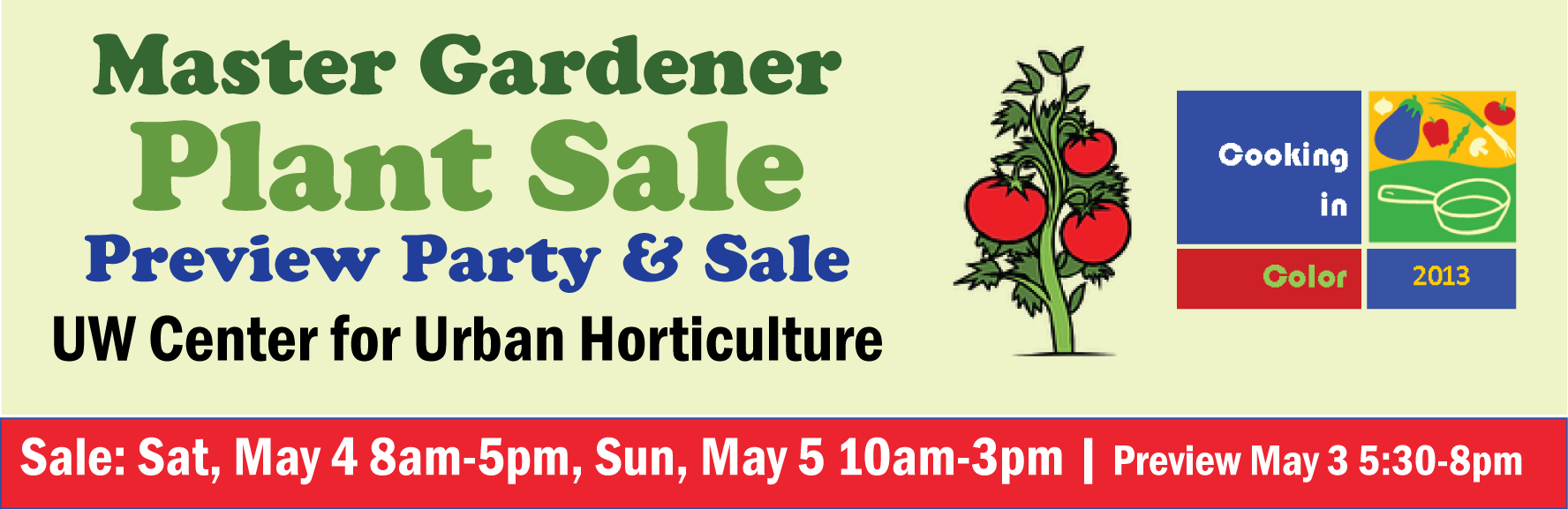 2013 Master Gardener Plant Sale May 4 and 5