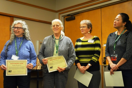 2018 President's Award to Growing Groceries Team: Linda Shepherd, Leader, Darien Payne, Sharon O'Grady and Gia Parsons. Not pictured Carrie Hill, Sue Kraemer, Penny Kriese, Gary Scheider and Elaine Anderson